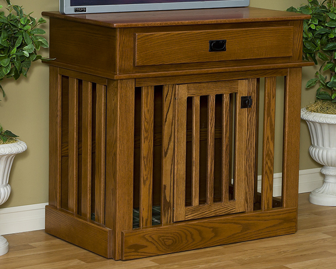 Wood Dog Crate End Table - Solid Oak, Natural Finish