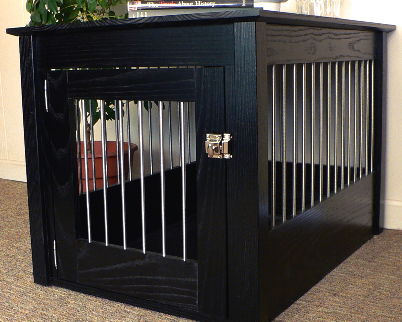 Quality Hardwood Dog Crate End Table with Solid Stainless Bars